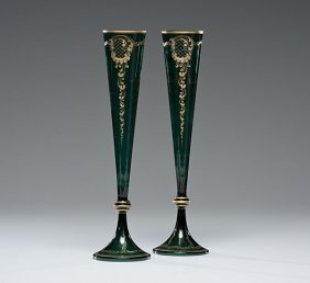 Bohemian Glass Trumpet Vases, Pair
