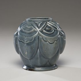 Enameled Art Deco Bulbous Vase