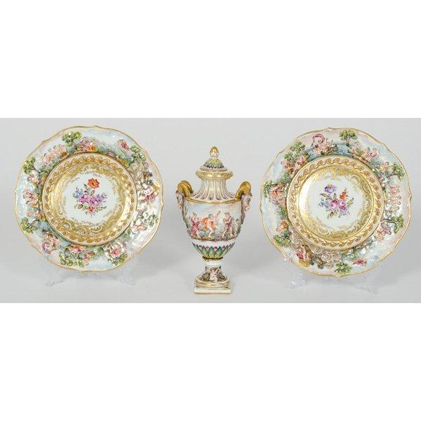 61: Capodimonte Urn and Plates