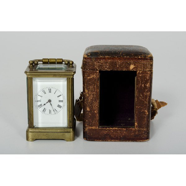 64: French Miniature Carriage Clock with Case