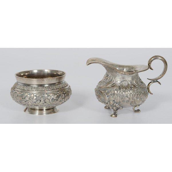 79: Russian Sterling Silver Creamer and Sugar Bowl