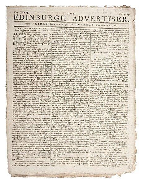 3: [NEWSPAPER] Revolutionary War, Edinburgh Advertiser,