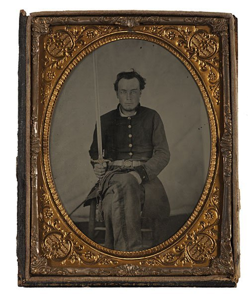 6: Armed Confederate Private, Half Plate Ambrotype