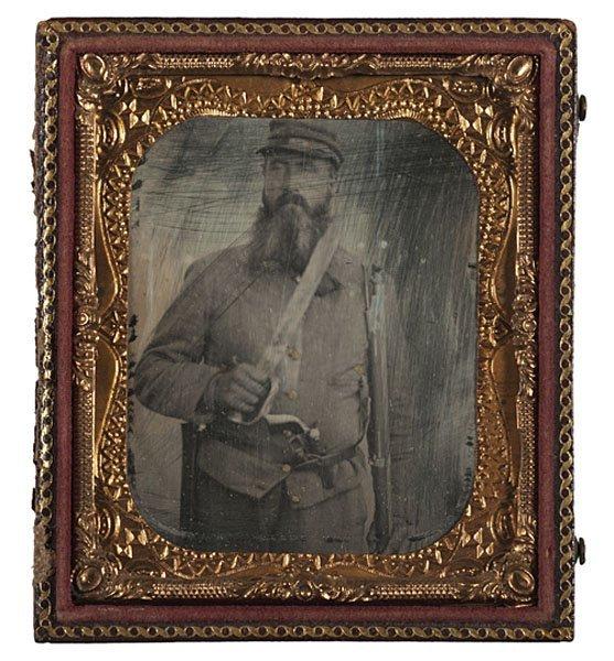 11: Armed Confederate Civil War 6th Plate Daguerreotype