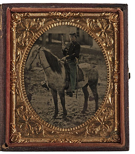 21: Mounted Cavalry Trooper Outdoor Sixth Plate Tintype