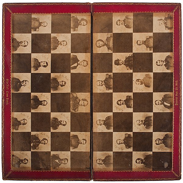 66: Civil War Chess Board and Accompanying Pieces