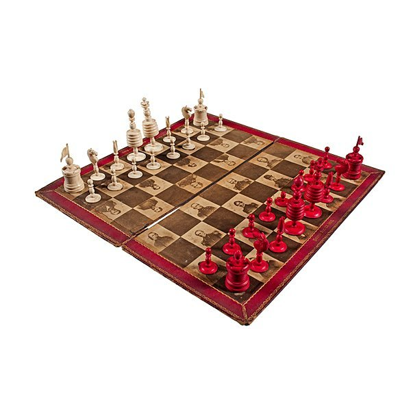 66: Civil War Chess Board and Accompanying Pieces  - 2