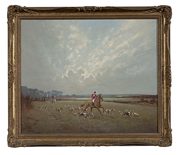 4: Fox Hunting Scene by Ninetta Butterworth, Oil on Can