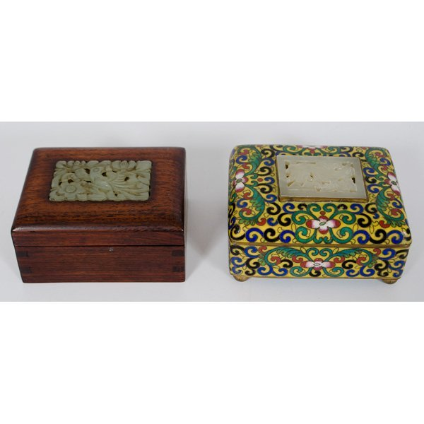 1008: Chinese Inlaid Jade Boxes