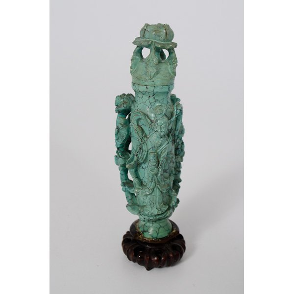 1011: Turquoise Lidded Vase