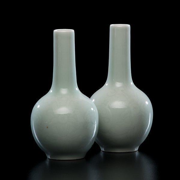 1014: Celadon Porcelain Cabinet Vases