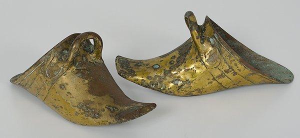 1018: Chinese Brass Shoe-Form Stirrups