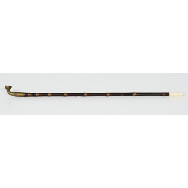 1019: Brass and Ivory Opium Pipe