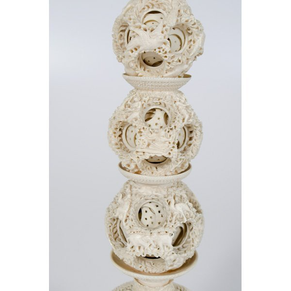 1224: Indian Carved Ivory Puzzle Ball Lamp - 2