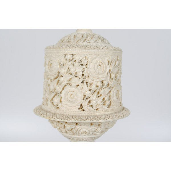 1224: Indian Carved Ivory Puzzle Ball Lamp - 3