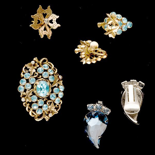 4: Grouping of Austria Rhinestone Ear Clips and brooche