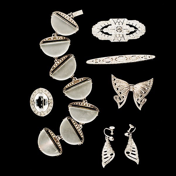 12: Art Deco & Marcasite grouping of Brooches and Brace