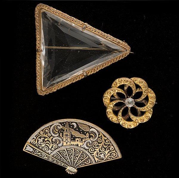 24: Enamel and Glass Brooch Set