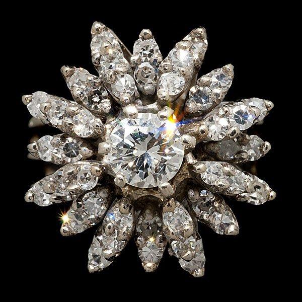 7: 14k Vintage Diamond Floral Cluster Ring