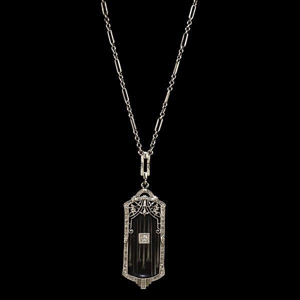 13: 14k Art Deco Rock Crystal and Diamond Pendant