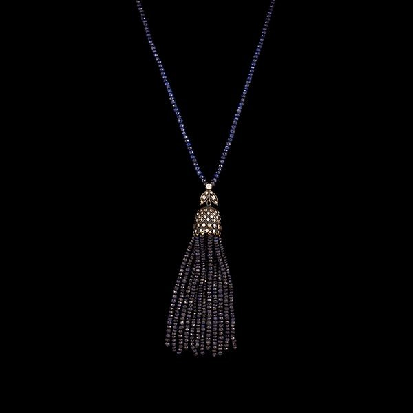 14: Sapphire Bead Tassel Necklace