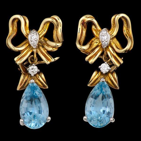 23: Tiffany and Co. 18k Aquamarine and Diamond Earrings