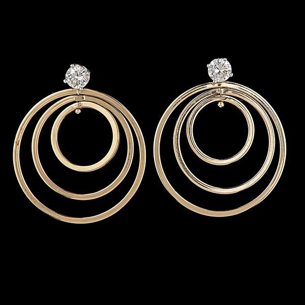 26: 14k Diamond Stud and Hoop Earrings