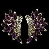 43: 14k Pink Sapphire and Diamond Earrings