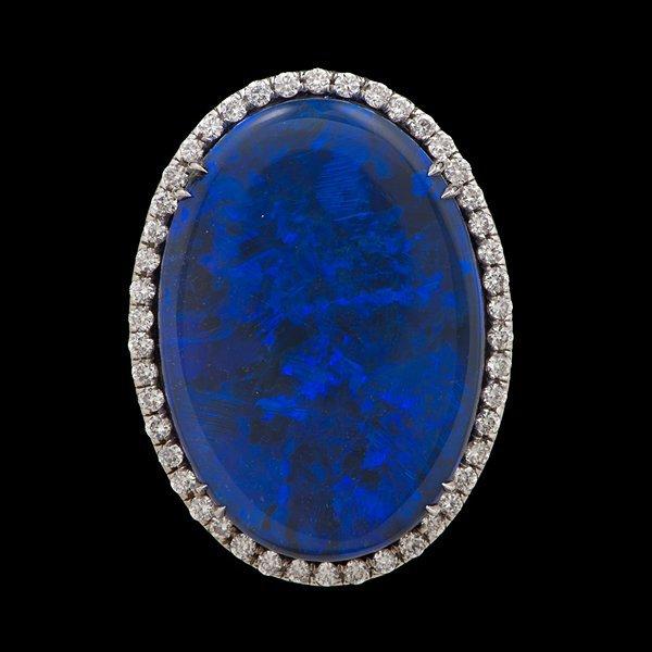 52: 14k Black Opal and Diamond Ring