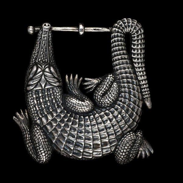 220: B.Kieselstein-Cord Alligator Belt Buckle