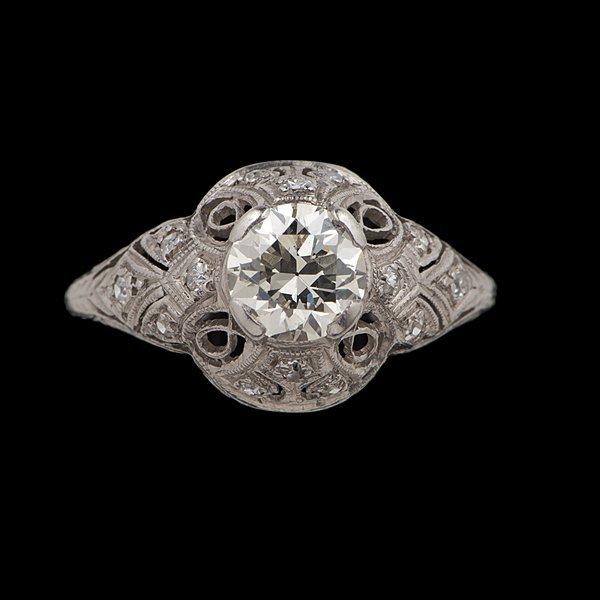 17: Art Deco Platinum Diamond Engagement Ring