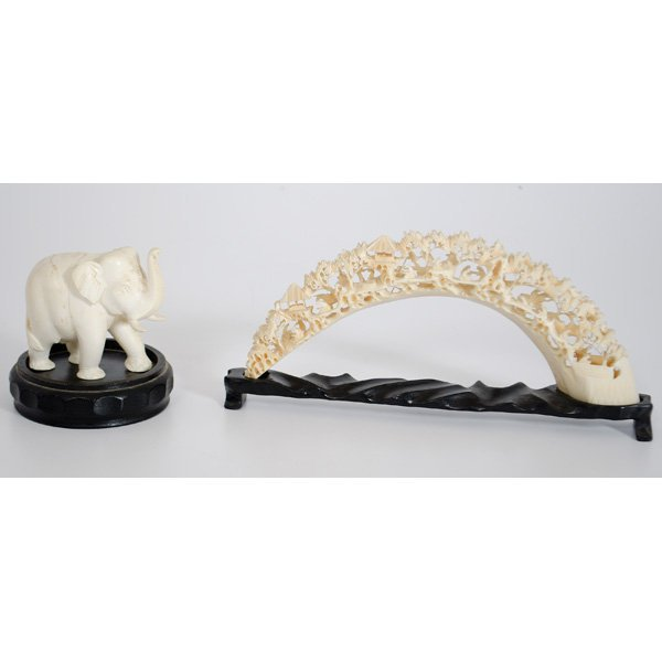 2: Chinese Ivory and Bone Bridge and Elephant Carvings