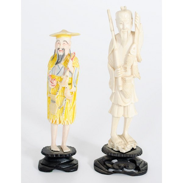 11: Pair of Chinese Carved Ivory Fishermen