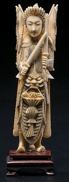 22: Chinese Carved Ivory Warrior Deity