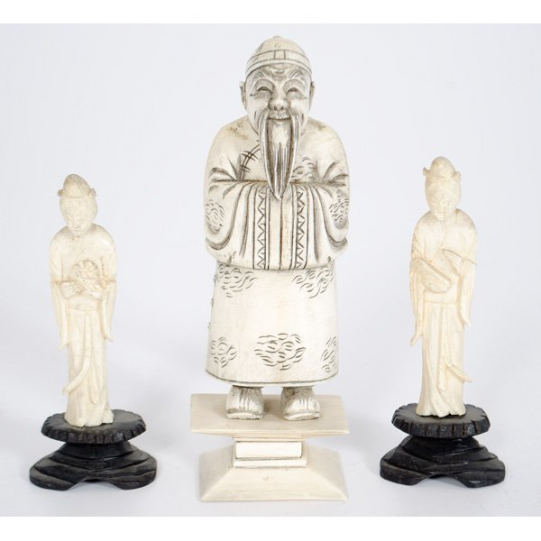 23: Chinese Carved Ivory Figures, Plus