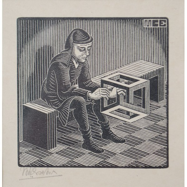 114: Man with Cube Woodcut by M.C. Escher