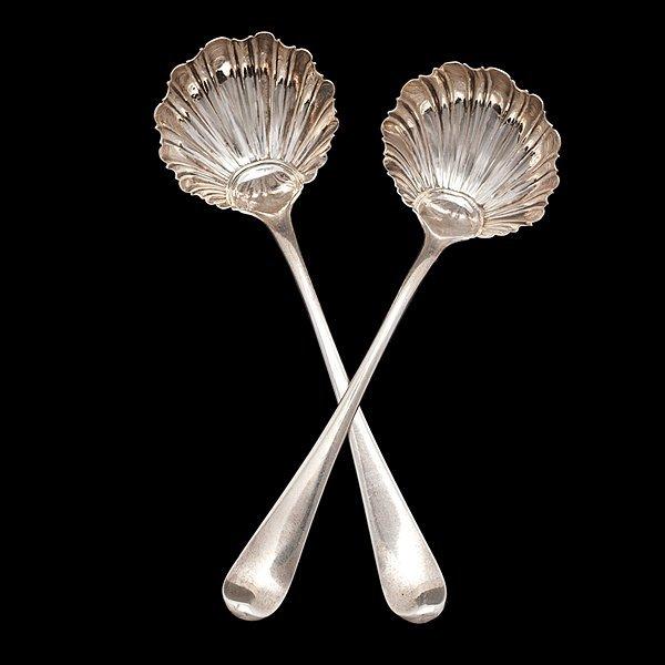 7: Pair of George III Sterling Condiment Ladles