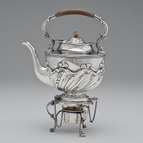 18: English Sterling Tea Kettle-on-Stand
