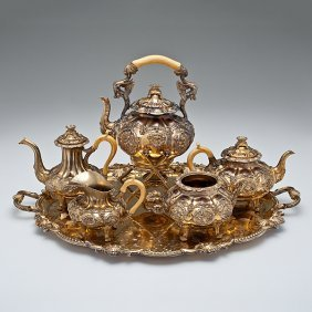 23: Gilt-Silverplated Coffee and Tea Service