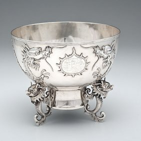 133: Chinese Export Silver Presentation Bowl with Drago