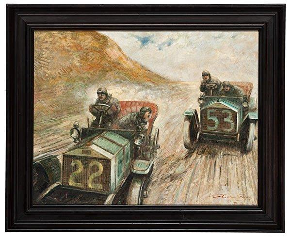 394: Motor Racing Scene by F. Gordon Crosby