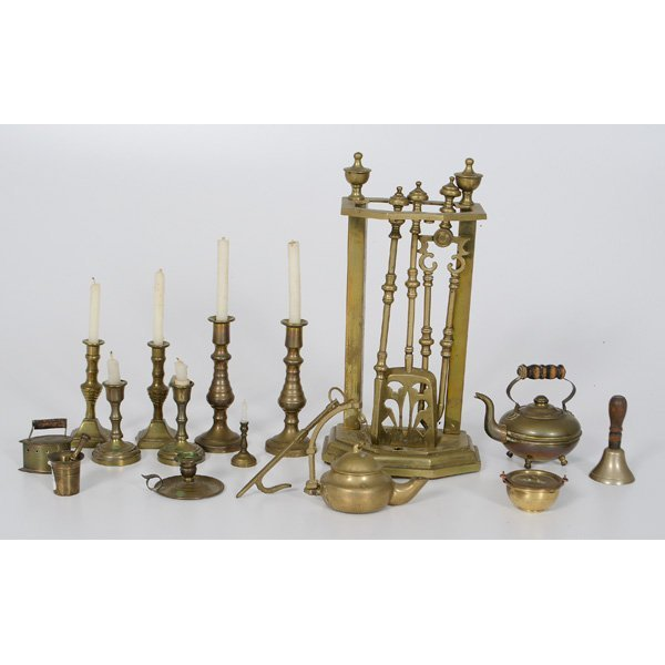 23: Child's Brass Fireplace Tools, Plus