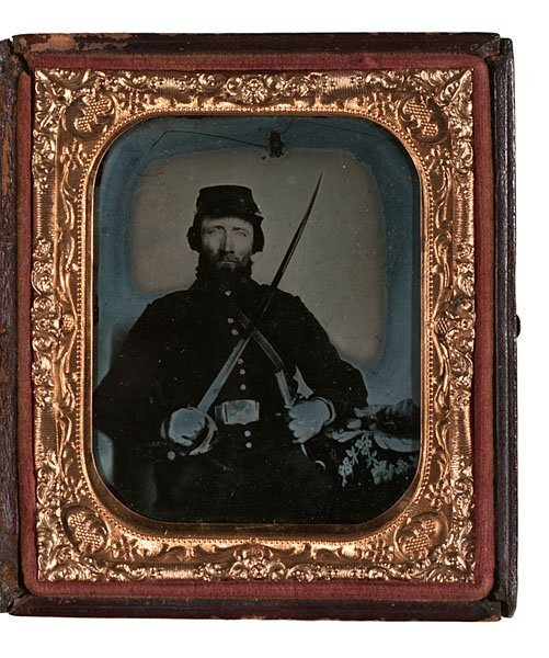 5: Sixth Plate Ambrotype of Armed Federal Cavalryman