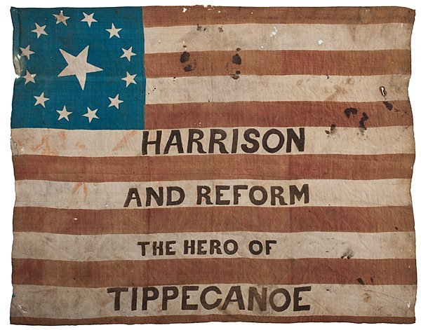 106: Scarce William Henry Harrison Campaign Flag Banner