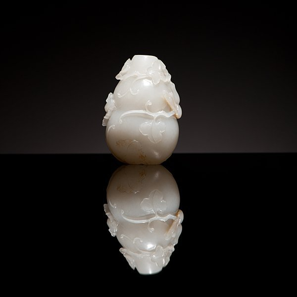 1: A Very Fine Chinese White Jade Double Gourd Snuff Bo