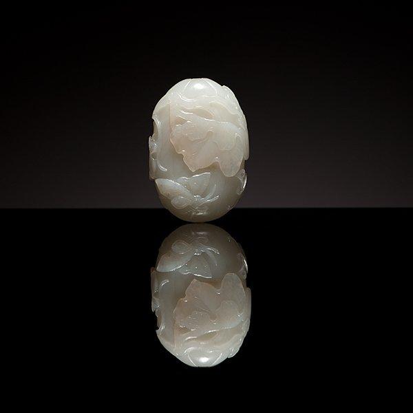 2: A Very Fine Chinese White Jade Melon Form Snuff Bott