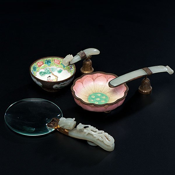 12: Chinese Ashtray & Magnifying Glass in Jade & Enamel