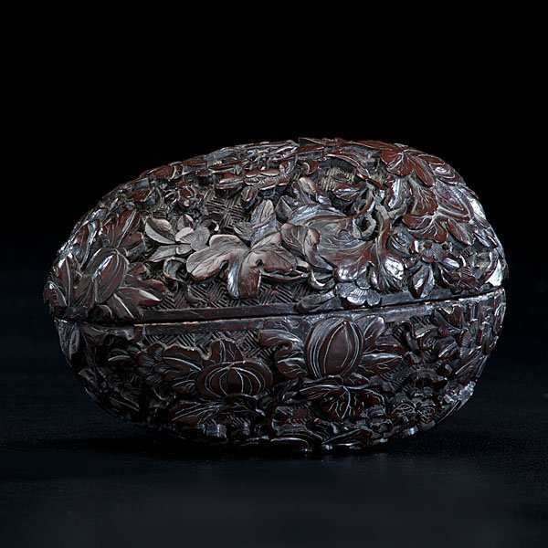 14: Finely Carved Cinnabar Lacquer Box