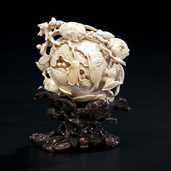 15: Very Fine Chinese Ivory Pomegranate Carving