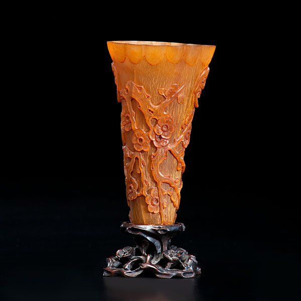 17: Chinese Buffalo Horn Wine Cup on Stand